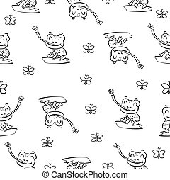 pattern with frog hand draw