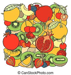 pattern with fruits - pattern with set of sweet fruits and...