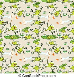 pattern with funny frogs