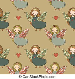 Pattern with girl Sirin.