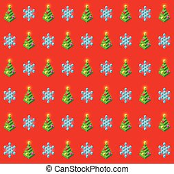 Pattern with glowing christmas trees and snowflakes