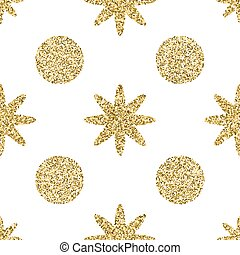 Pattern with gold glitter textured circle and star on the white background