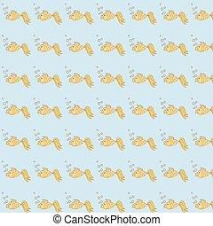 Pattern with goldfish