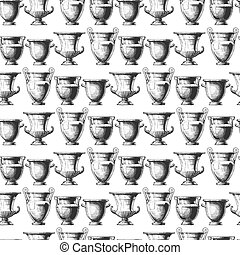 Pattern with greek vases. - Seamless pattern with ancient ...