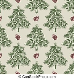 Pattern with green Christmas tree