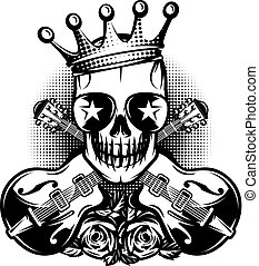 Pattern with guitar, skull, crown for concert advertisement....