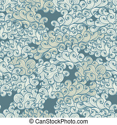 Pattern with hand drawn clouds