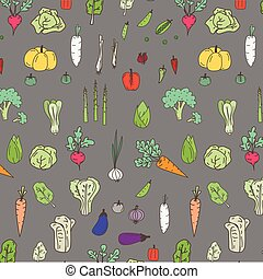Pattern With Hand Drawn Doodle Vegetables.