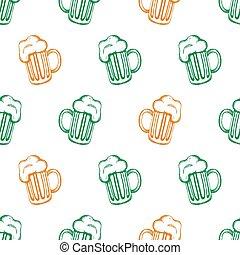 Pattern with hand-drawn mugs