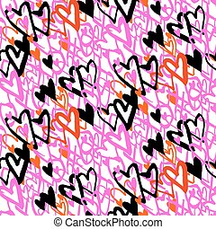 Pattern with hand painted hearts - Grunge vector seamless ...