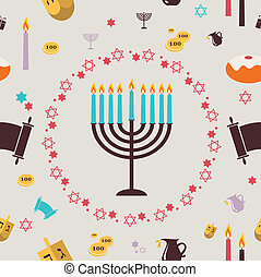 pattern with Hanukkah symbols. Greeting card. illustration