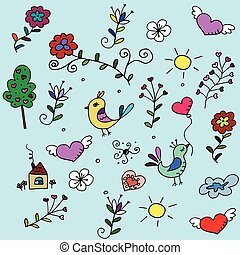 pattern with hearts, birds and flowers for fabrick