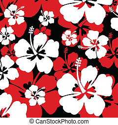 Pattern with Hibiscus flower - pattern with red and white...