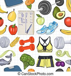 Pattern with hand drawn images about healthy lifestyle