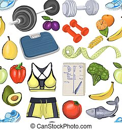 Pattern with images about healthy lifestyle