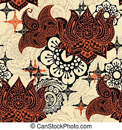 pattern with Indian ornaments