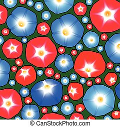 Pattern with ipomoea flowers - Summer pattern with flowers...