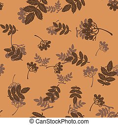 pattern with leaves and rowan berries