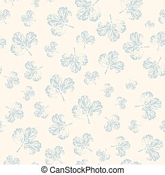 Pattern with leaves in pastel on light background