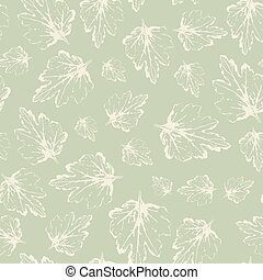 Pattern with leaves in pastel on light green background