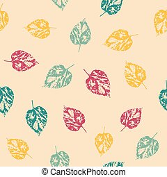 Pattern with leaves on bright background