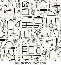 Pattern With Line Hand Drawn Doodle Vector Cooking Set ...