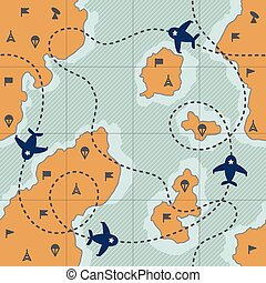 Pattern with map and dotted route, airplanes and military...