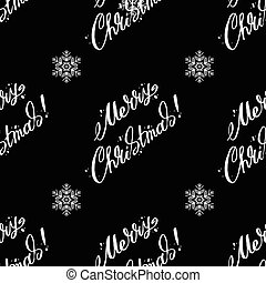 Pattern With Merry Christmas lettering on a black background. Vector illustration.