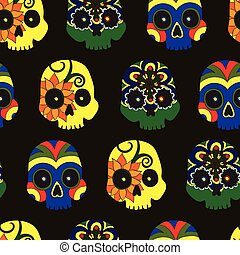Pattern with mexican skulls