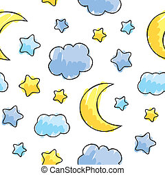 pattern with night sky elements, hand drawn vector illustration