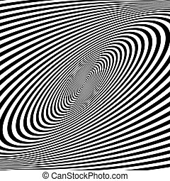 Pattern with optical illusion. Black and white background....