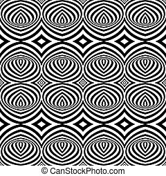 Pattern with Optical Illusion - Black and White Opt Art Seamless