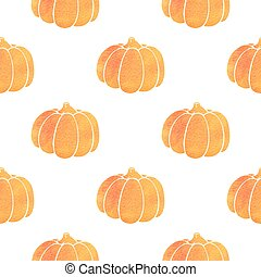 Pattern with orange watercolor pumpkin
