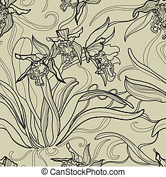 Pattern with orchid flowers - Vector seamless floral pattern...