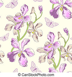 Pattern with orchids and butterflies