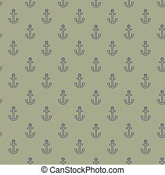 Pattern with outline anchors on khaki background