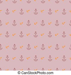 Pattern with outline and incline anchors on pink background