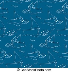 Pattern with outlined sailing-ships and waves