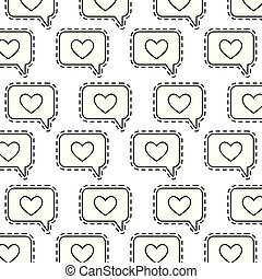 pattern with patches of speech bubbles and hearts
