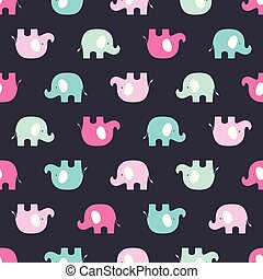 pattern with pink and blue elephants
