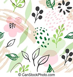 Pattern with pink flowers and green leaves
