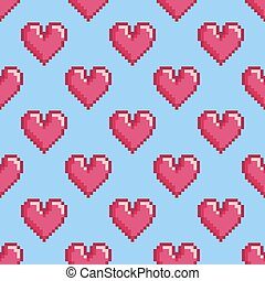 Pattern with pixel hearts