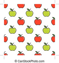 Pattern with red and green apples