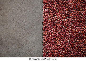 Pattern with red beans on grey background.