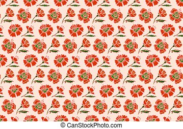 Pattern with red flowers on pink background
