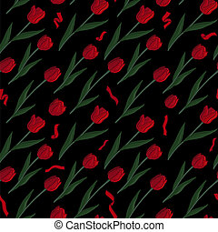 Pattern with red tulips on black background