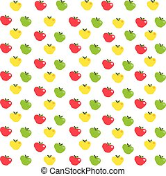 pattern with red, yellow and green apples on white background.