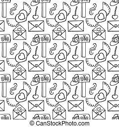 Pattern with Romantic Icons.