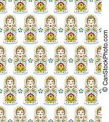 pattern with russian dolls matryoshkas