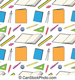 pattern with school stationery